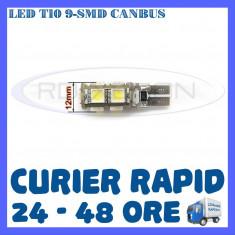 BEC AUTO LED LEDURI POZITIE T10 W5W - 9 SMD CANBUS FARA EROARE - POZITII - Led auto ZDM, Universal