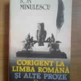 E4 Corigent La Limba Romana Si Alte Proze - Ion Minulescu