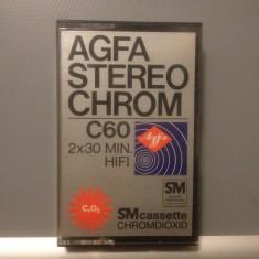 Casete Audio AGFA STEREO CHROME C 60 - 2X30MIN HIFI - made in GERMANY - Casetofon