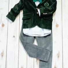 Sacou catifea Iridor baieti verde (Culoare: visiniu, Imbracaminte pentru varsta: 6 ani - 116 cm)