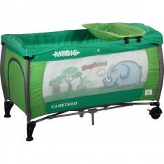 Patut pliant bebelusi - Patut pliant Medio Safari 120 x 60 cm Verde Caretero