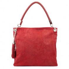 Geanta Dama - Geanta piele rosie cu imprimeu GF371