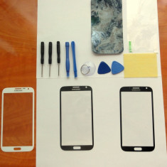 Sticla+Ustensile+Adeziv Samsung GALAXY Note 2 alb gri white geam ecran display - Geam carcasa