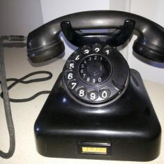 Telefon vechi, vintage, francez, din ebonita, cu disc
