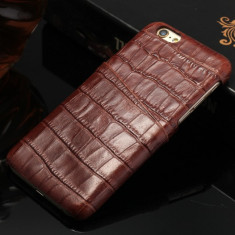 Husa SLIM piele NATURALA tip crocodil, iPHONE 6 / 6S, fara clapeta, culoare MARO - Husa Telefon
