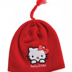 Caciula din tricot Hello Kitty rosie - Caciula Copii