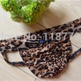 Jockstrap / suspensor / lenjerie intima fara spate semi-transparenta - leopard - Chiloti barbati, Marime: S/M, L/XL, Culoare: Din imagine