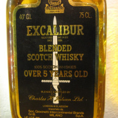 whisky excalibur, blendedscotch whisky, 5 years, cl.75 gr.43 ani 60