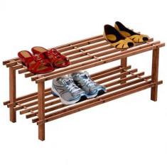 Suport incaltaminte din lemn cu 2 etajere - Raft/Etajera