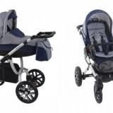 Carucior copii 3 in 1 - Carucior 3 in 1 Holland Silver Bebetto W2 (Gri cu Albastru)