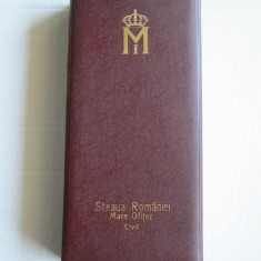 Cutie Ordinul Steaua Romaniei, Mare Ofiter pt Civili, model 2. Rara ! - Brevet