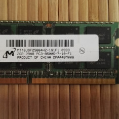 Ram Laptop Micron 2Gb DDR3 PC3-8500S MT16JSF25664HZ-1G1F1 - Memorie RAM laptop Micron, 1066 mhz