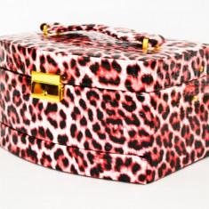 Cutie bijuterii din piele eco ''Pink & Black ''-Produs Nou-LICHIDARE DE STOC