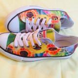 Tenisi dama - Converse Chuck Taylor all star 3D flori floral floricele colorati dama fete 36