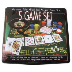 Set Jocuri 5in1 Poker Ruleta Black Jack Craps Poker Dice - Jocuri Board games