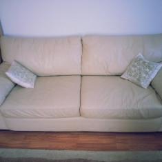 Canapea - Canapele extensibile din PIELE (crem)