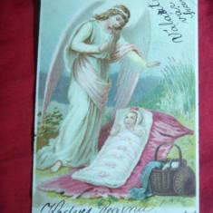Litografie -Copil, Ingerul Pazitor circ1902Porumbenii Mari ( Harghita) la Recas - Carte Postala Transilvania pana la 1904, Circulata, Printata