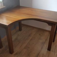 Birou colt lemn masiv nuc