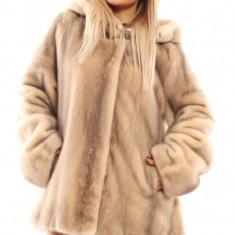 NOUA Haina blana vison nurca culoare naturala bej gluga mar 46-48 - Palton dama