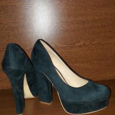 Pantofi dama verzi catifea toc inalt gros 39 - Pantof dama, Culoare: Verde