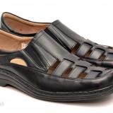 Pantofi barbati piele naturala negri cu elastic mas. 40 - LICHIDARE DE STOC, Culoare: Negru
