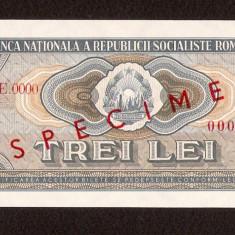 ROMANIA - 3 LEI - 1966 SPECIMEN . UNC- . FOARTE RARA !!