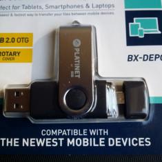 Stick USB Platinet 8 Gb Micro-Usb Se Conecteaza La Telefoane Tablete Metalic Nou Sigilat, USB 2.0
