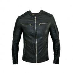Geaca Barbati Zara David Beckham Office Casual Imblanita Cod Produs 9132, Marime: M, L, XL, Culoare: Negru, Piele