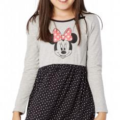 Rochie fete 4-10 ani - Minnie - art. 139290 gri-negru, buline albe, Marime: Alta