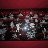 Tablou Japonez din lemn lucrat manual cu sidef si pictura NR 4 - Reproducere