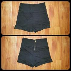 Pantaloni scurti cu talie inalta - Pantaloni dama, Marime: XS, Culoare: Negru