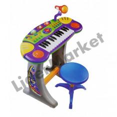 Orga electronica cu scaunel si microfon pentru copii BB33-B - Instrumente muzicale copii