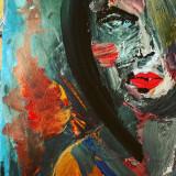 Vând tablou lucrat în acrylice cu titlul Red Lip Lady - Pictor roman, Portrete, Acrilic, Suprarealism