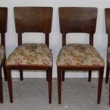 Set 4 scaune din lemn masiv; Scaun cu saltea pe arcuri - Mobilier