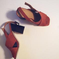 Sandale de piele ASOS, marimea 37 - Sandale dama Asos, Marime: 37 1/3, Culoare: Coniac