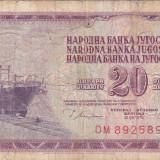IUGOSLAVIA 20 dinara 1978 F+!!! - bancnota europa