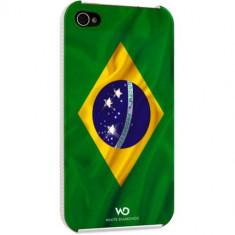 Husa Protectie Spate White Diamonds Steag Brazilia pentru Apple iPhone 4S - Husa Telefon White Diamonds, iPhone 4/4S