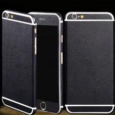 Iphone 6 6S - Folie Sticker Full Fata Spate Rama Negru Imitatie Piele - Folie de protectie, Colorata