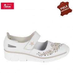 Pantofi dama piele naturala RIEKER alb floral (Marime: 37) - Pantof dama