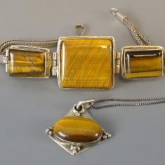 Bratara si lant cu pandantiv argint cu ochi de tigru - Set bijuterii argint