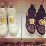 Sneakers piele naturala/ghete dama VERSACE, Marime: Alta, Culoare: Alb, Negru, Visiniu