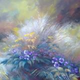 IN IARBA 7 - pictura ulei/panza - Pictor roman, Natura, Realism