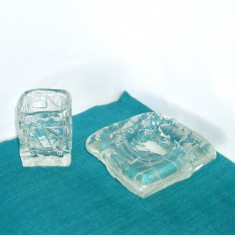 Scrumiera si suport tigarete din cristal - Demant - design Gote Augustsson, Ruda - Scrumiera sticla