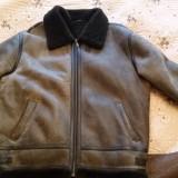 Cojoc de piele naturala îmblănit - Palton barbati, Marime: 50, Culoare: Maro