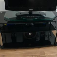 Masuta de televizor din sticla neagra - Masa living