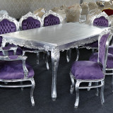 Set MASA dining + 8 Scaune clasice baroc din lemn argintiu/mov