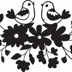 Autocolant sticker decorativ pentru perete, Pasari cu flori 35x20 cm