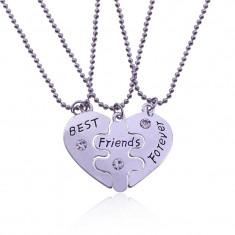 Set 3 Lantisoare cu Pandantive Best Friends BFF Cele mai bune prietene - Lantisor inox